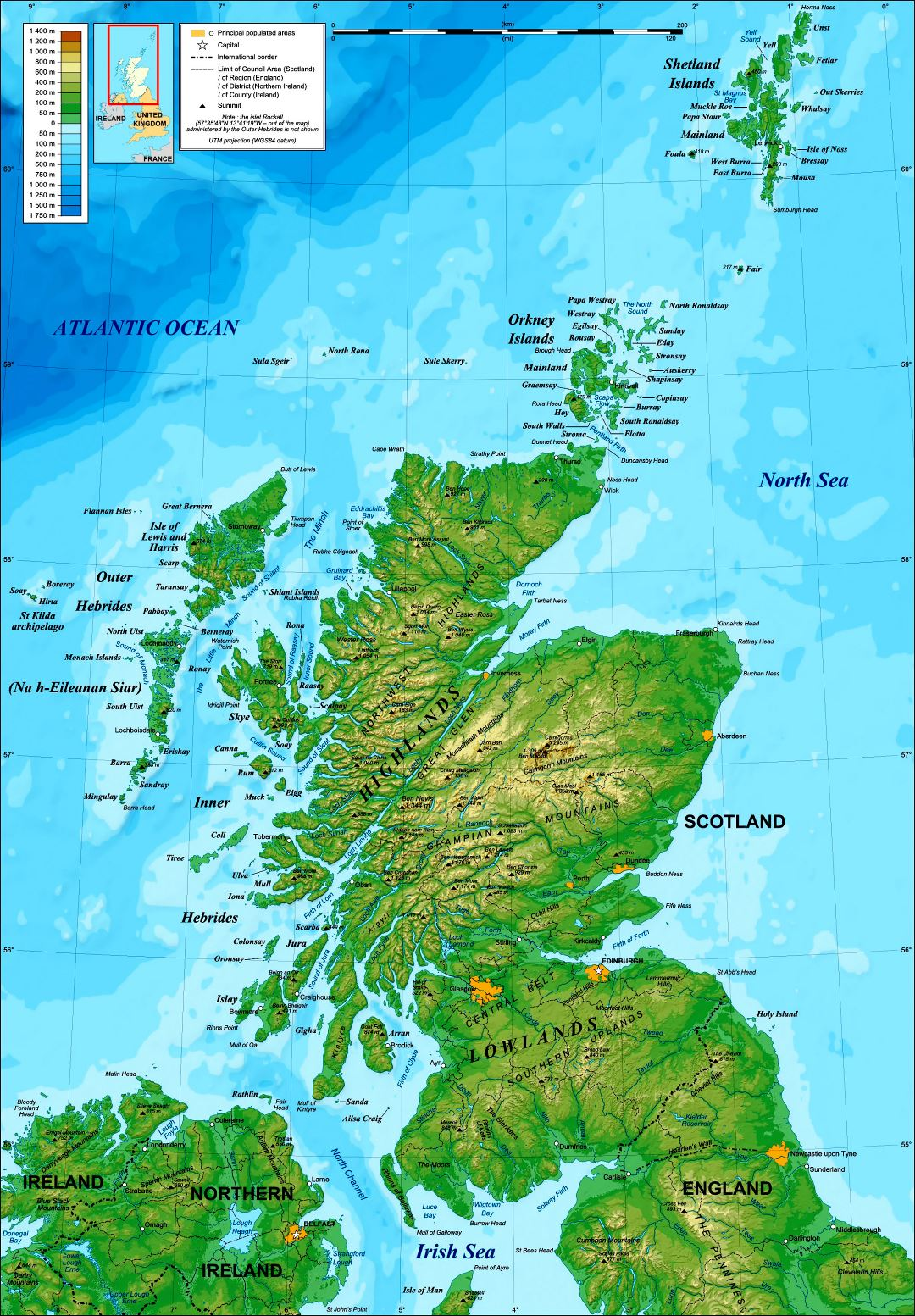 Large detailed topographical map of Scotland