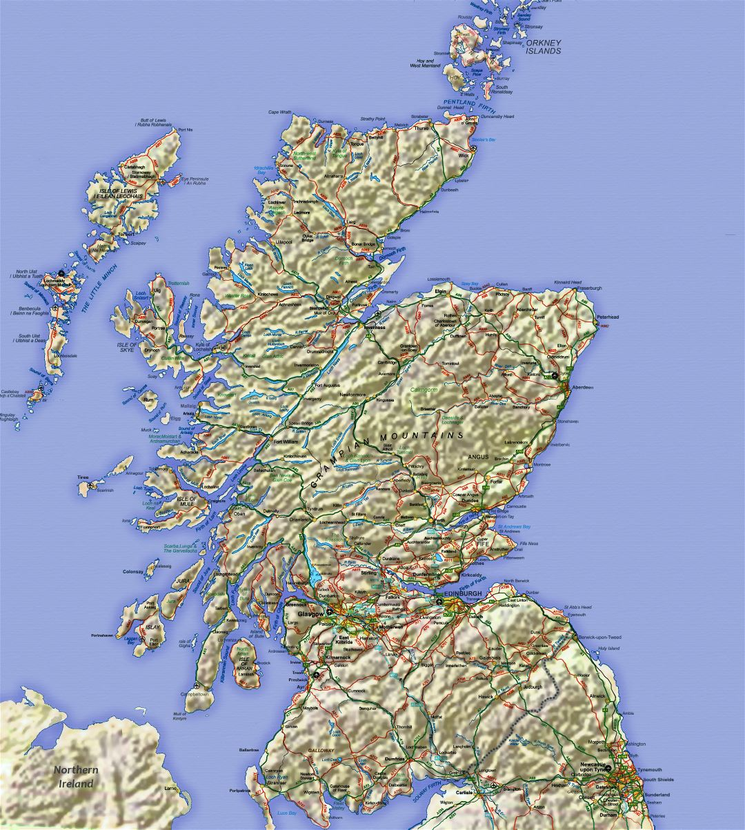Large map of Scotland with relief, roads, major cities and airports