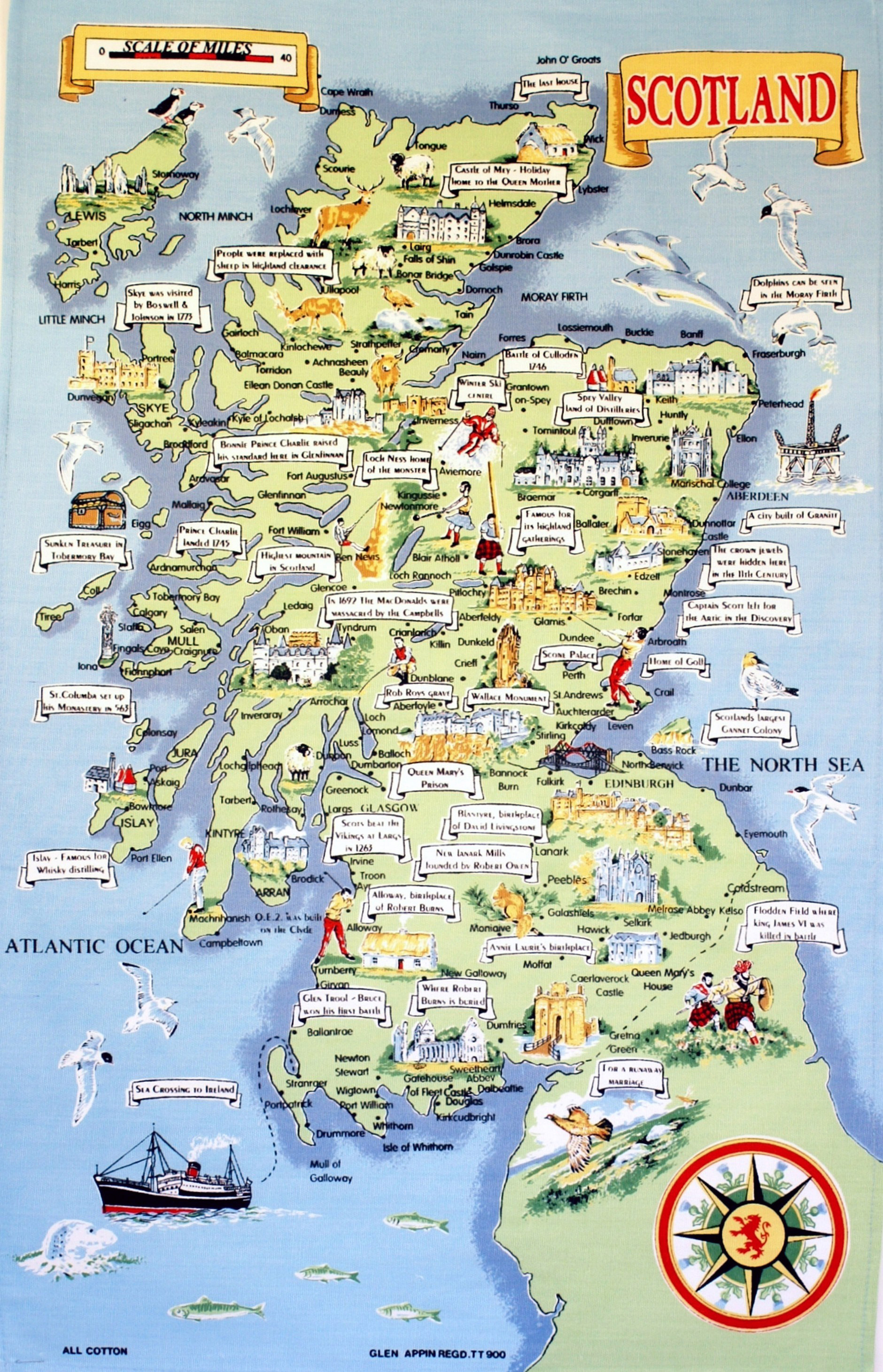 Large tourist illustrated map of Scotland Scotland – Tourist Map Of Scotland