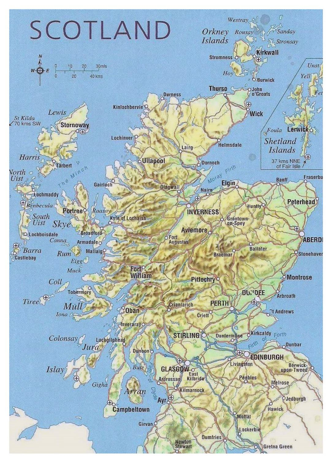 Map Of Scotland With Relief Roads Major Cities And Airports - World map with cities