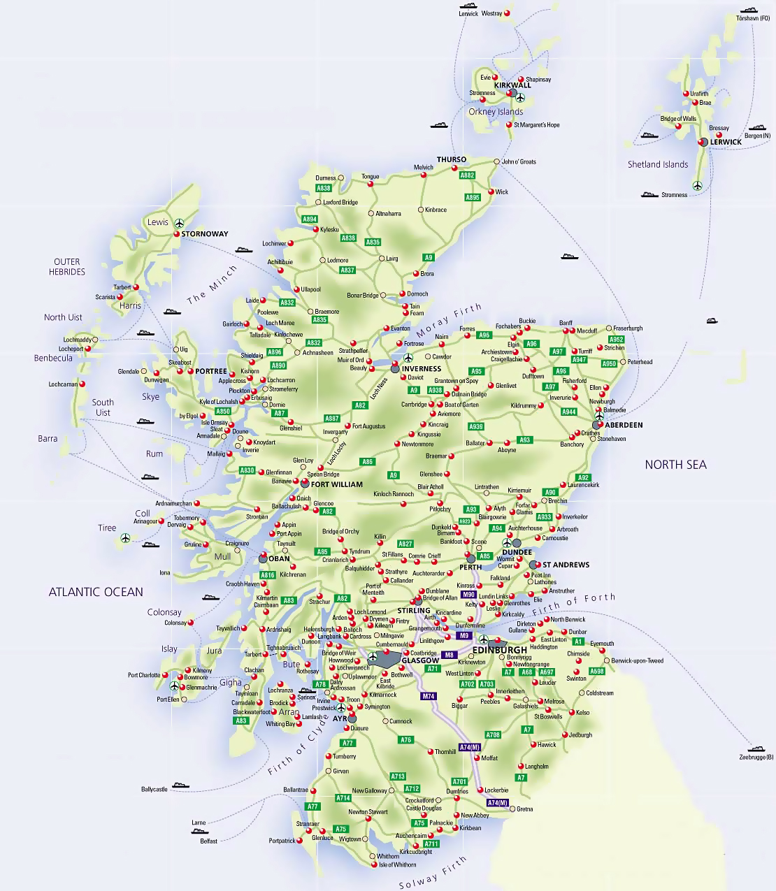 Road map of Scotland with airports and cities | Scotland | United