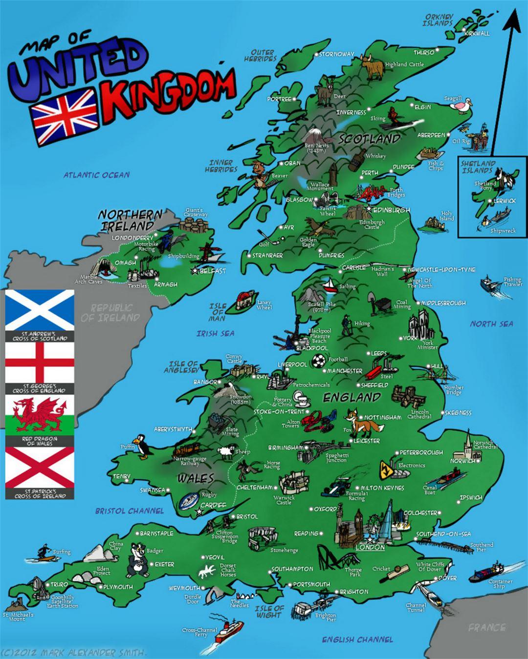 Tourist illustrated map of United Kingdom | United Kingdom ... on illustrated wedding map, illustrated beach map, illustrated island map,