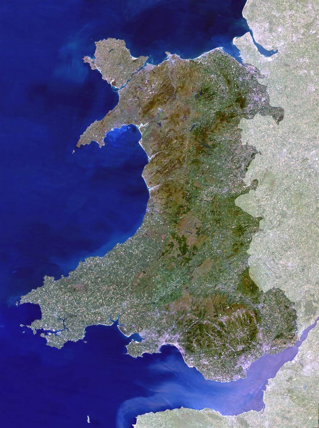 Detailed satellite map of Wales