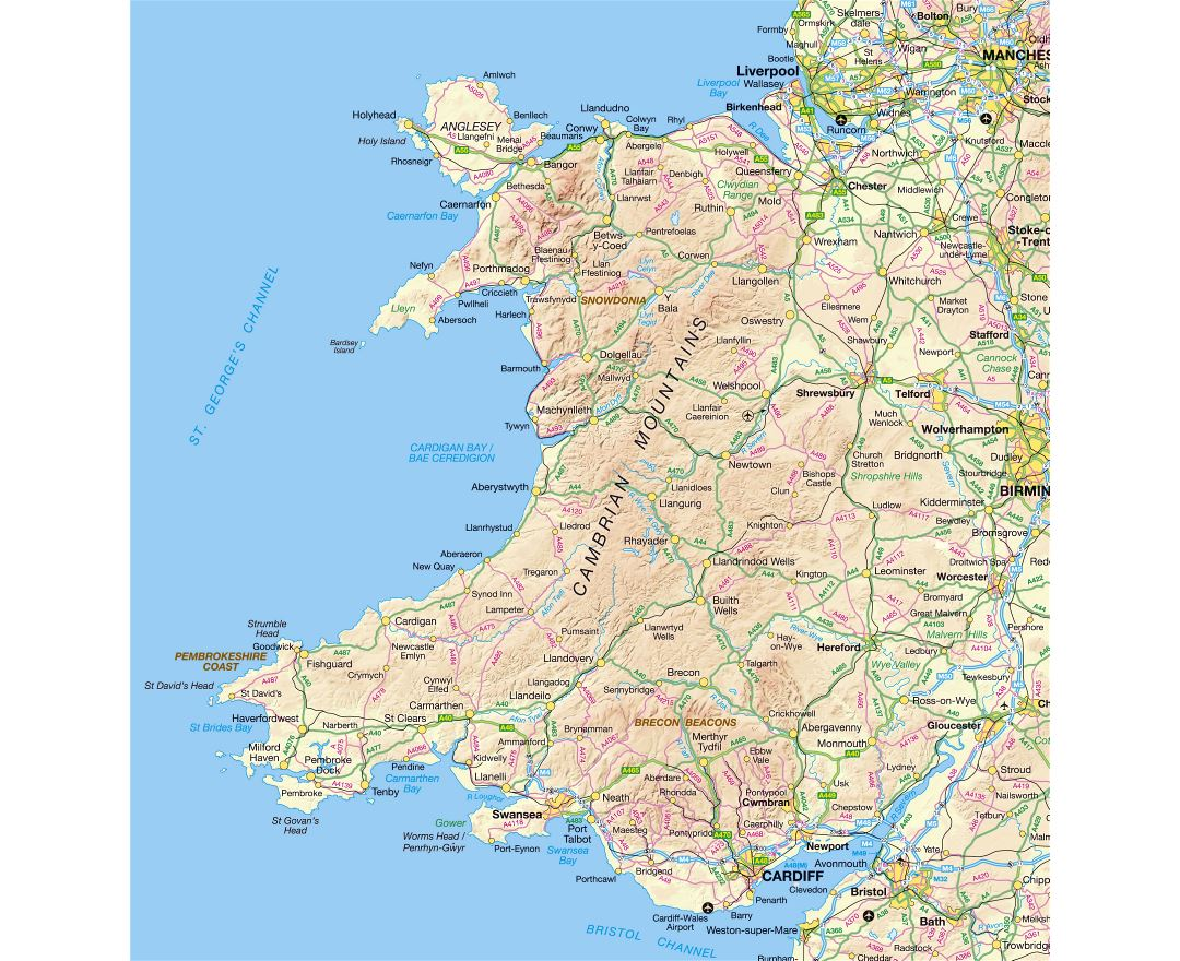 Maps of Wales Detailed map of Wales in English Political
