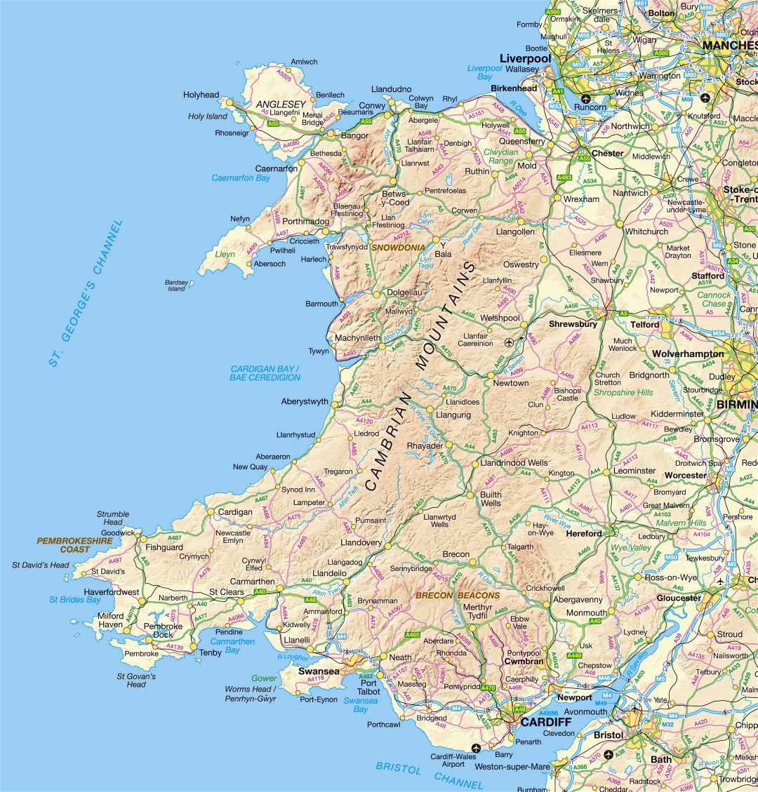 Large detailed map of Wales with relief, roads and cities