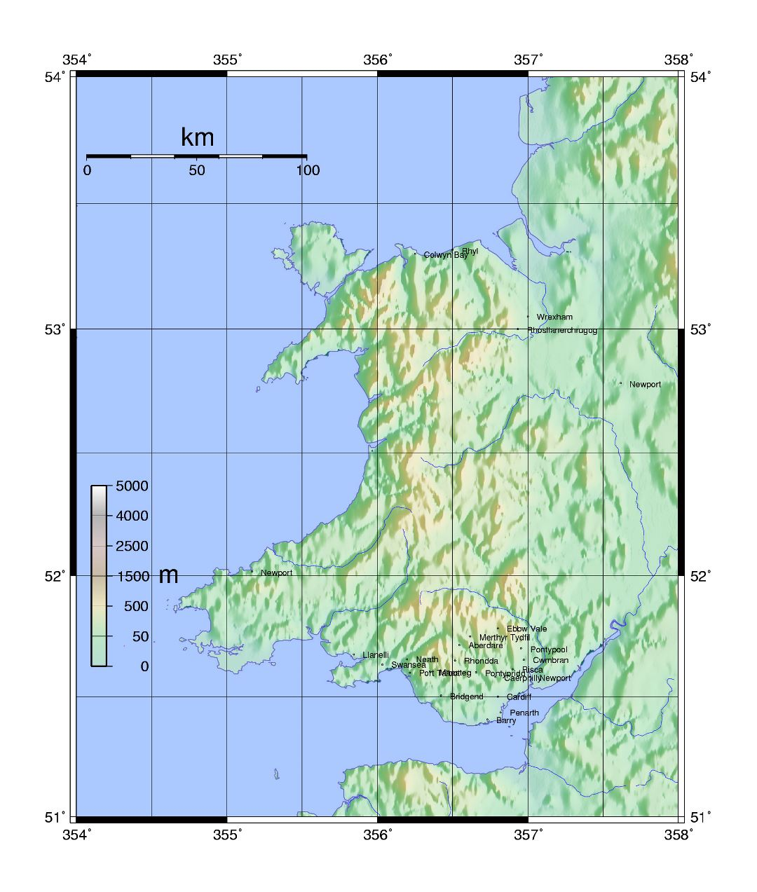 Large topographical map of Wales