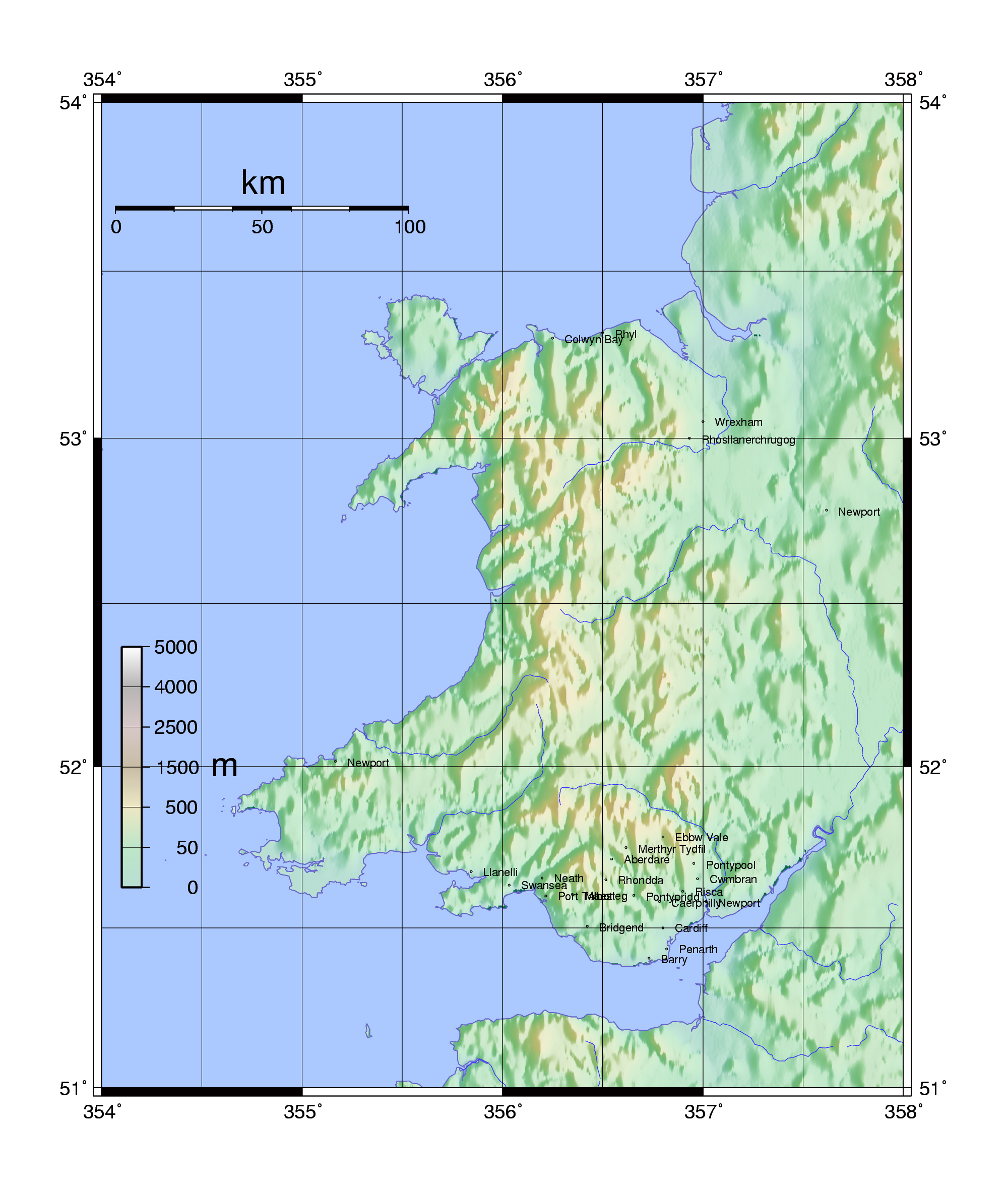 Large topographical map of Wales Wales United Kingdom Europe