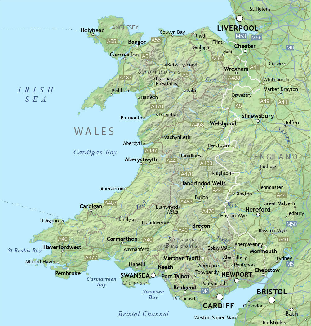 Map of Wales with relief and cities Wales United Kingdom Europe Mapsl