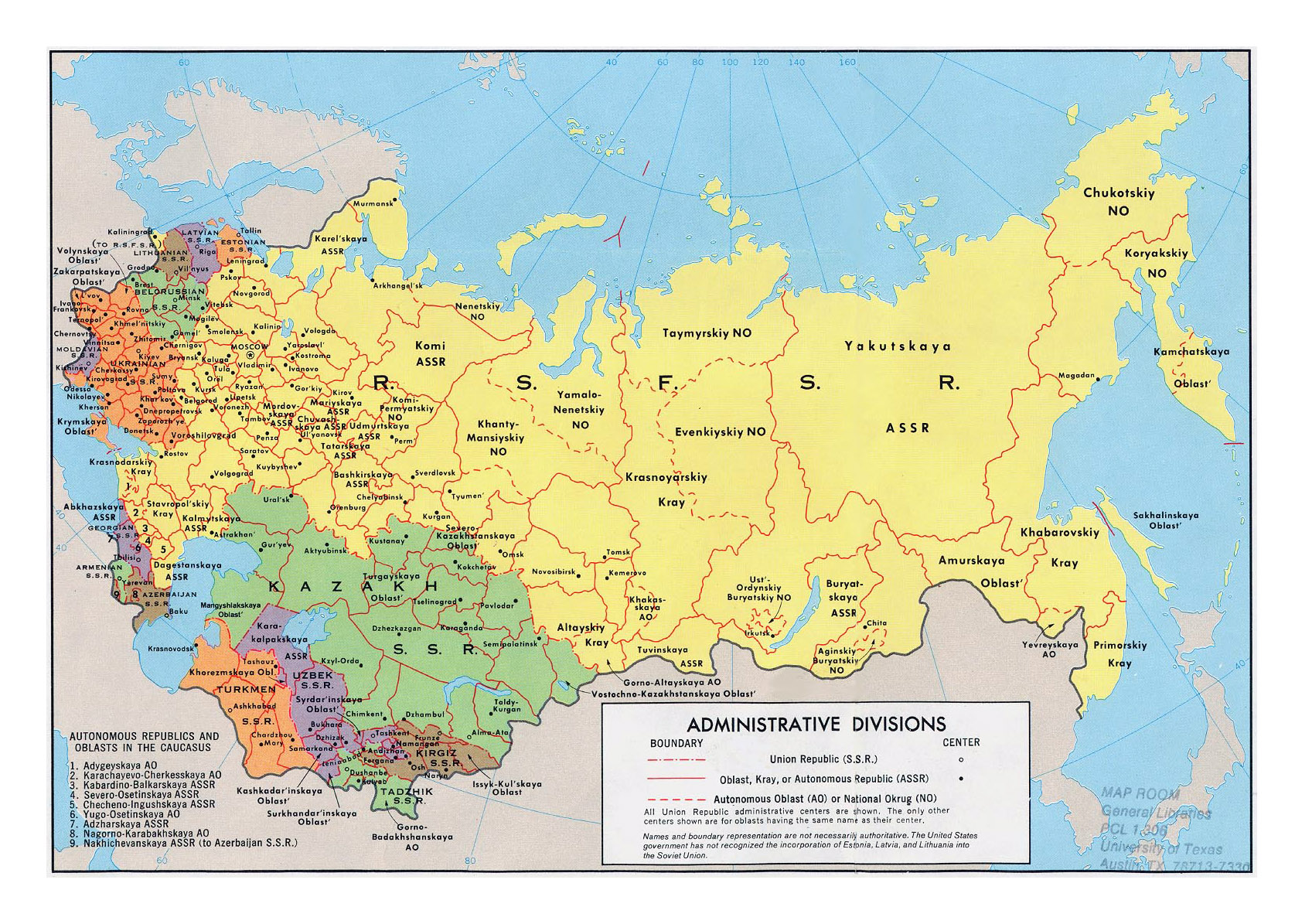 Large detailed administrative divisions map of the soviet union large detailed administrative divisions map of the soviet union 1974 gumiabroncs Choice Image