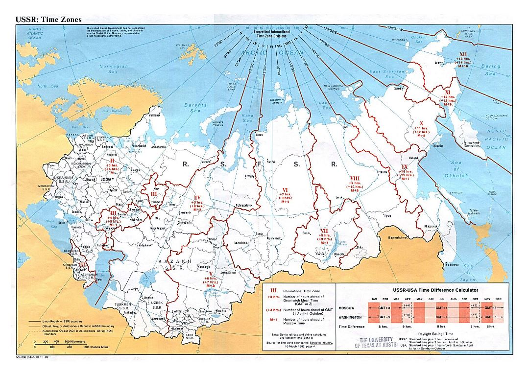 Large detailed Time Zones map of the USSR - 1982
