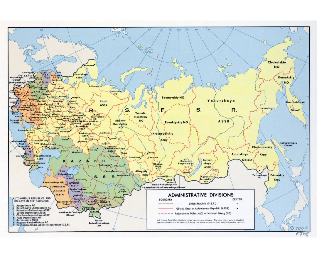 Maps of the ussr detailed map of the ussr soviet union large scale administrative divisions map of the ussr 1968 gumiabroncs Image collections