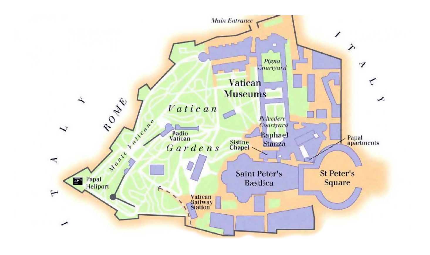 Detailed map of Vatican city Vatican Europe Mapsland Maps of