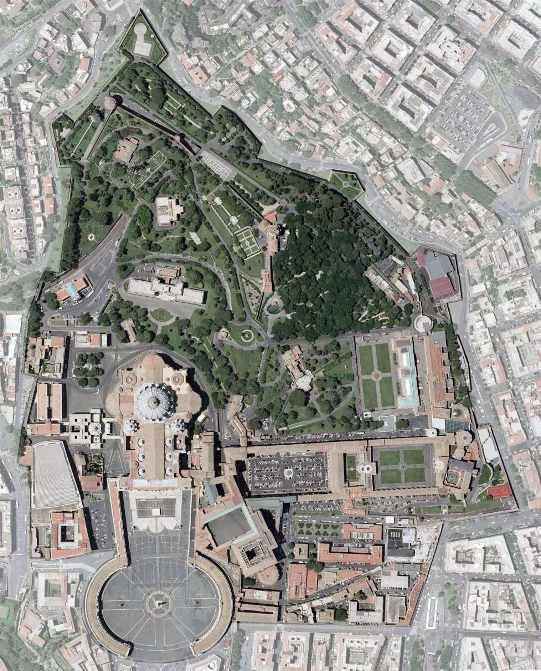 Detailed satellite image of Vatican city