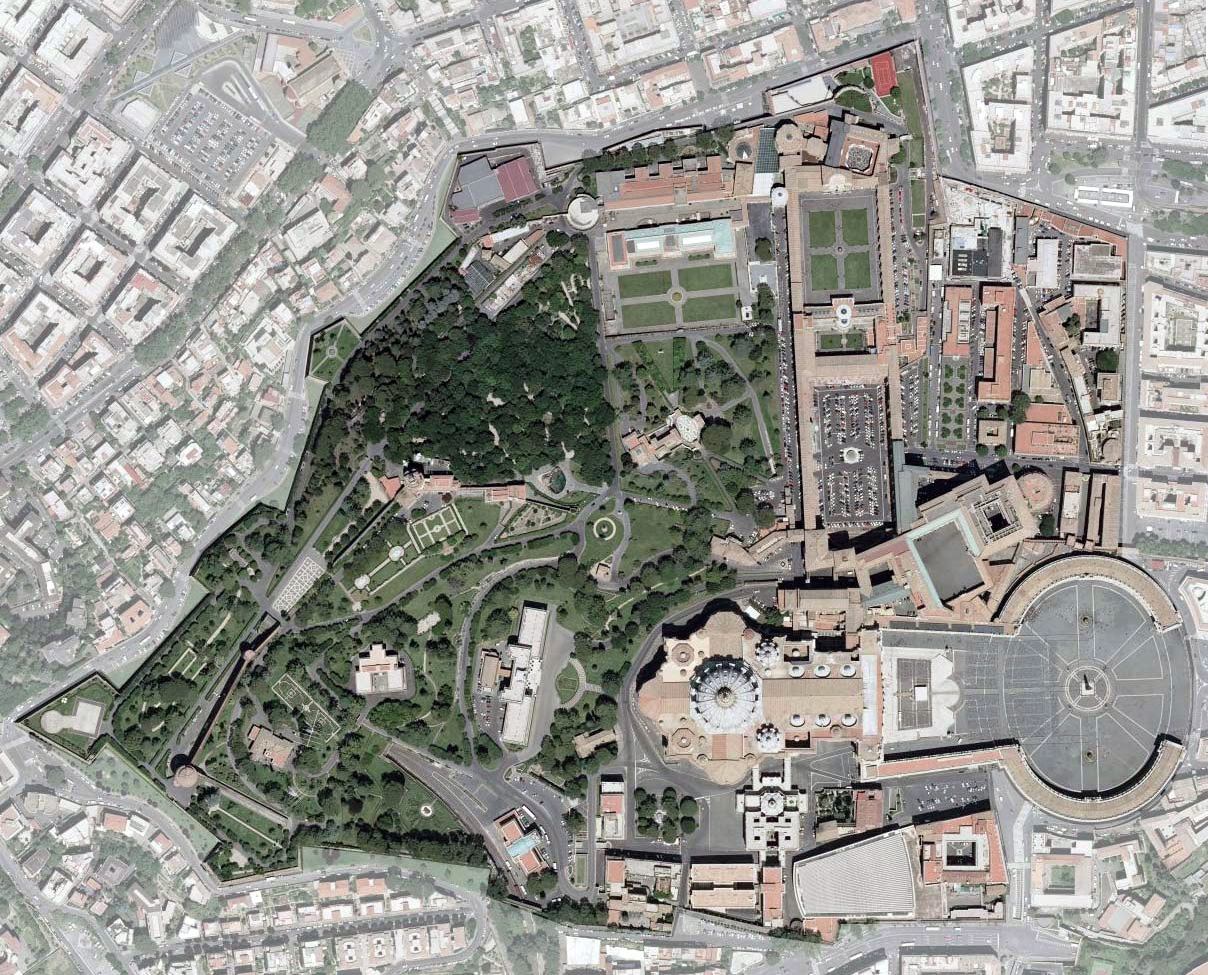 Detailed satellite map of Vatican city Vatican Europe Mapsland