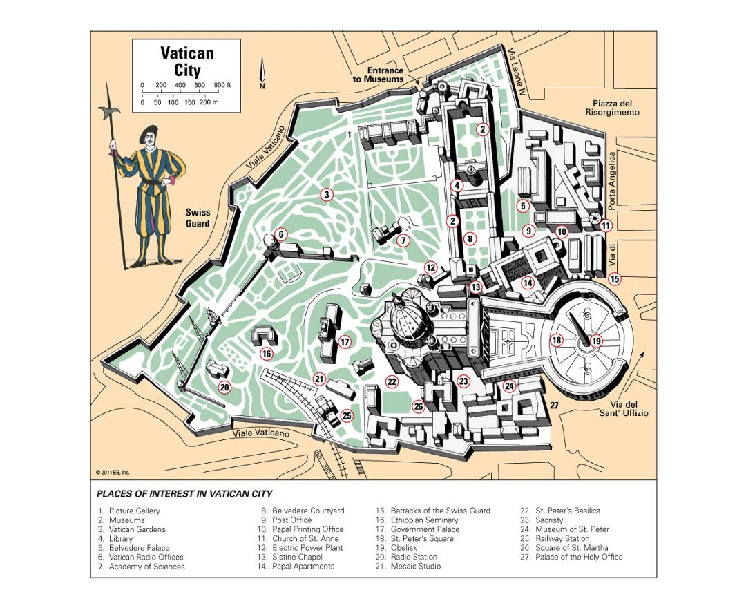 Detailed tourist map of Vatican city