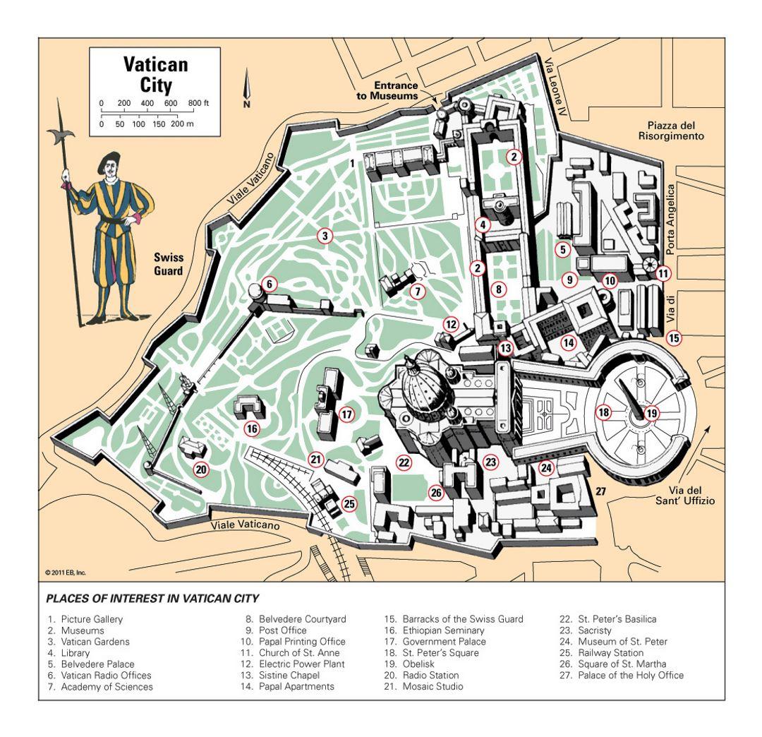 Detailed tourist map of Vatican city Vatican Europe Mapsland