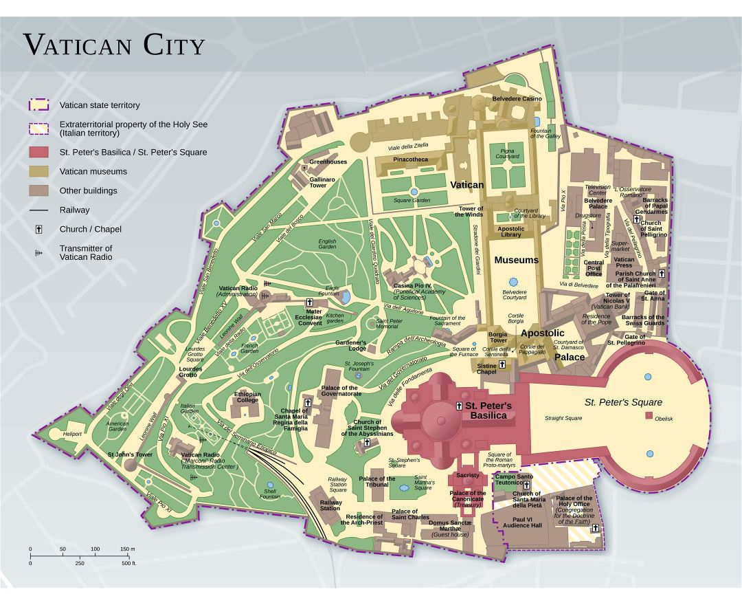 Large detailed map of Vatican city with other marks