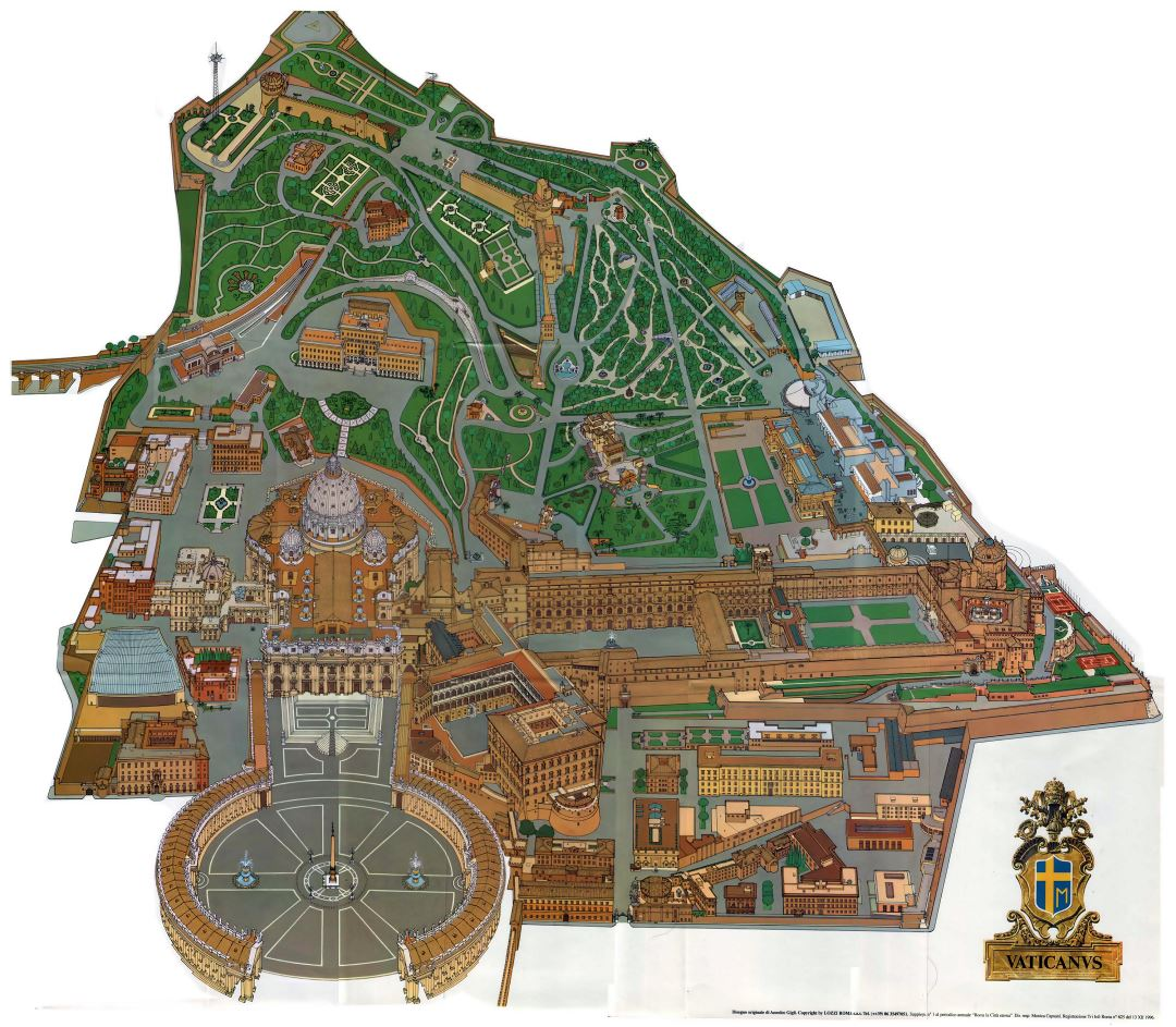 Large detailed panoramic map of Vatican city