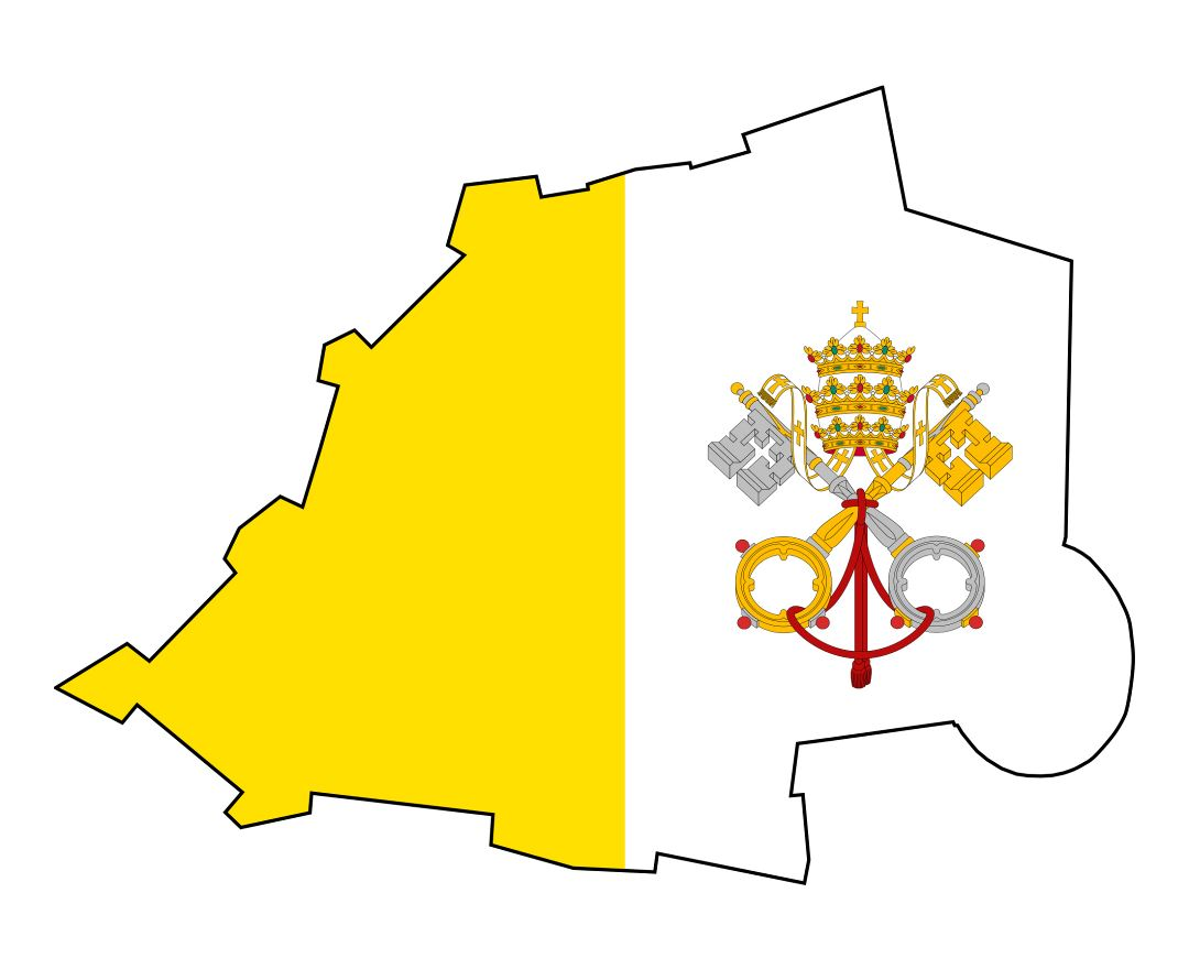Large flag map of Vatican city