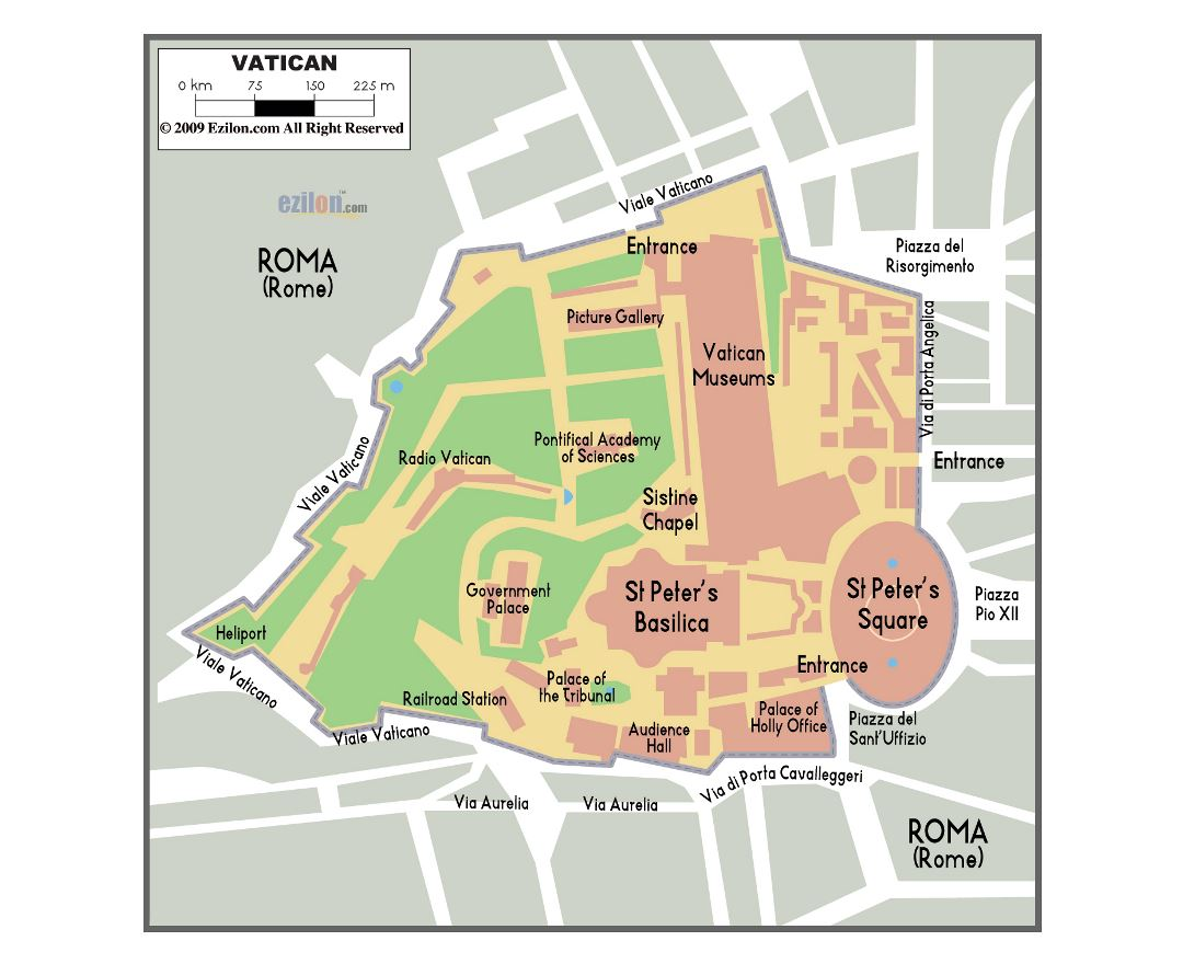 Large political map of Vatican city with buildings
