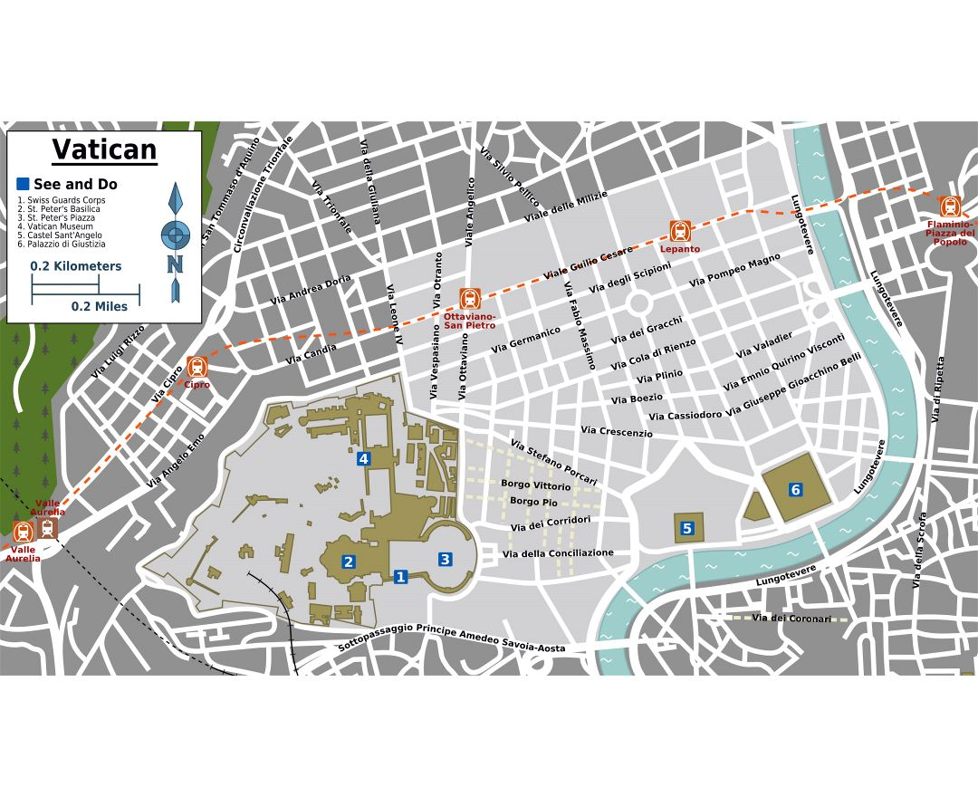 Large tourist map of Vatican city and its surroundings