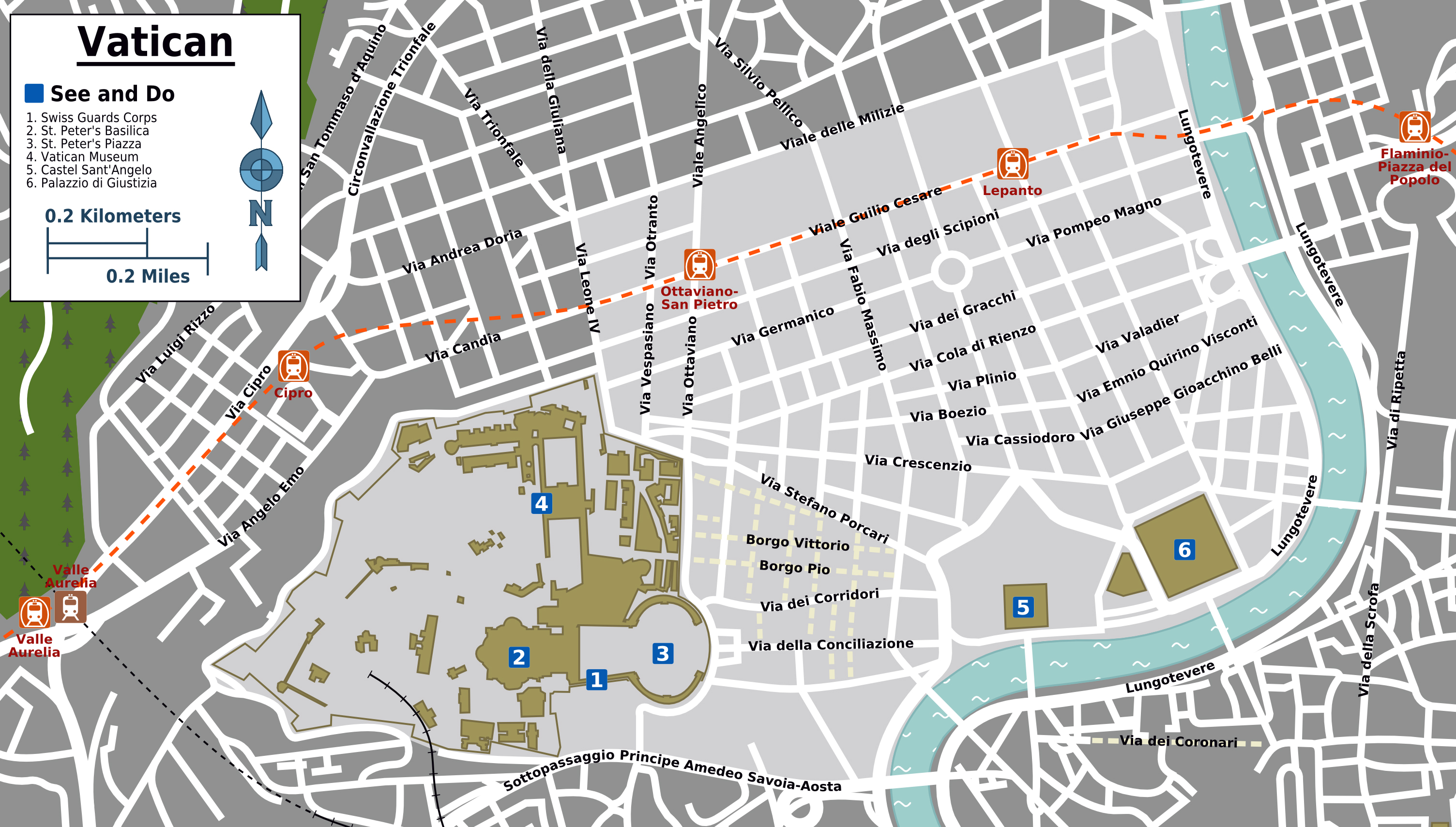 Large tourist map of Vatican city and its surroundings Vatican