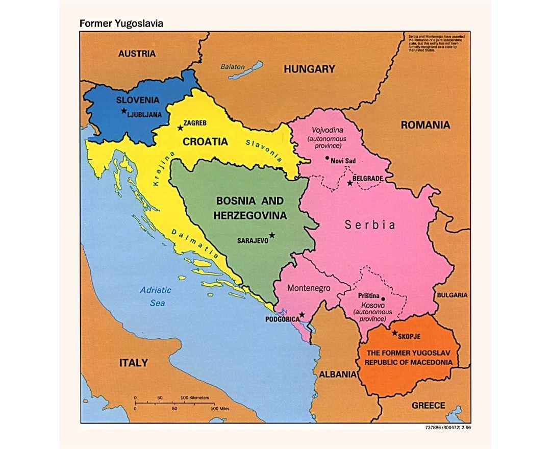 Maps of yugoslavia detailed map of yugoslavia former yugoslavia detailed political map of yugoslavia 1996 gumiabroncs Choice Image