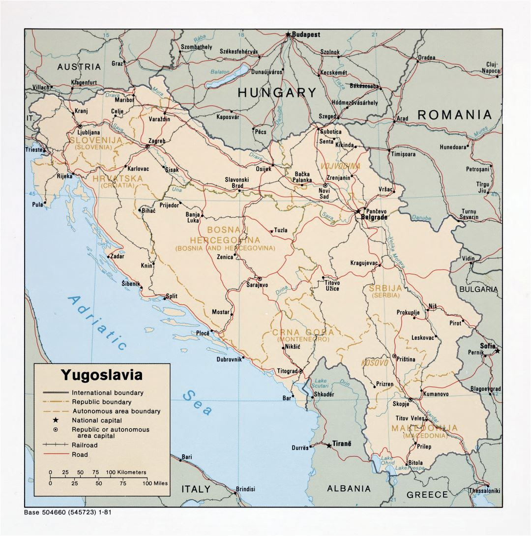 Large detailed political map of Yugoslavia with roads, railroads and major cities - 1981