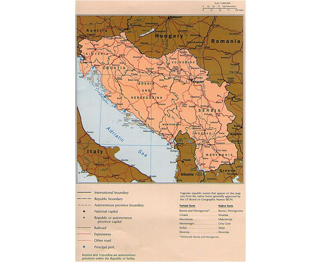 Maps of Yugoslavia Detailed map of Yugoslavia Former Yugoslavia