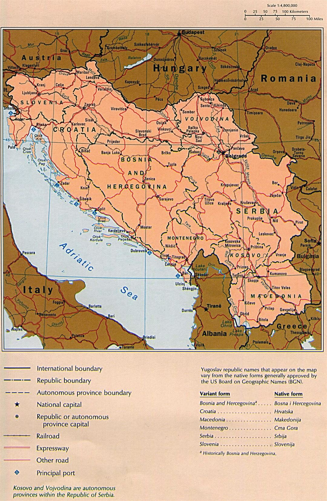 Large detailed political map of Yugoslavia with roads, railroads and major cities