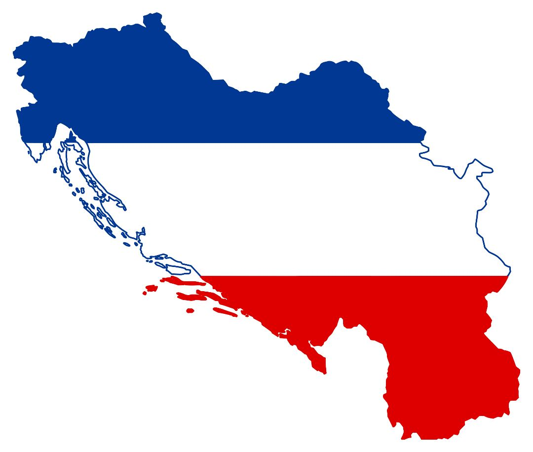Large flag map of Yugoslavia
