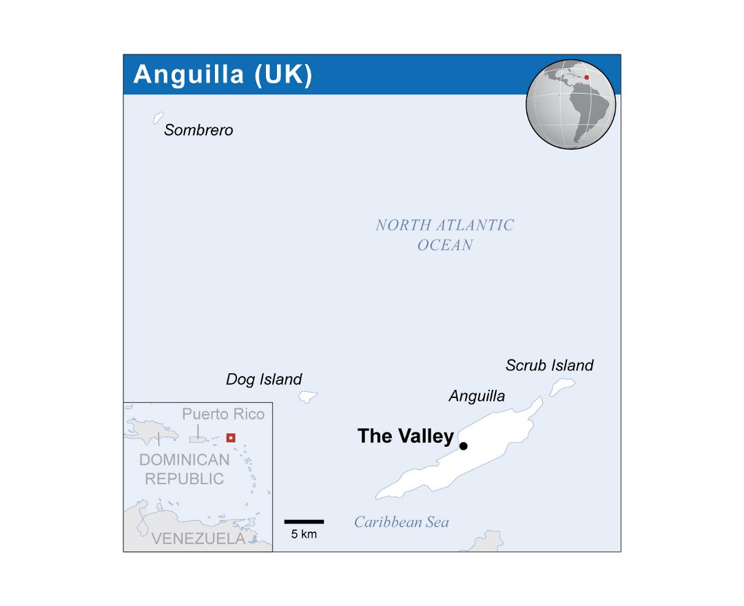 Detailed political map of Anguilla