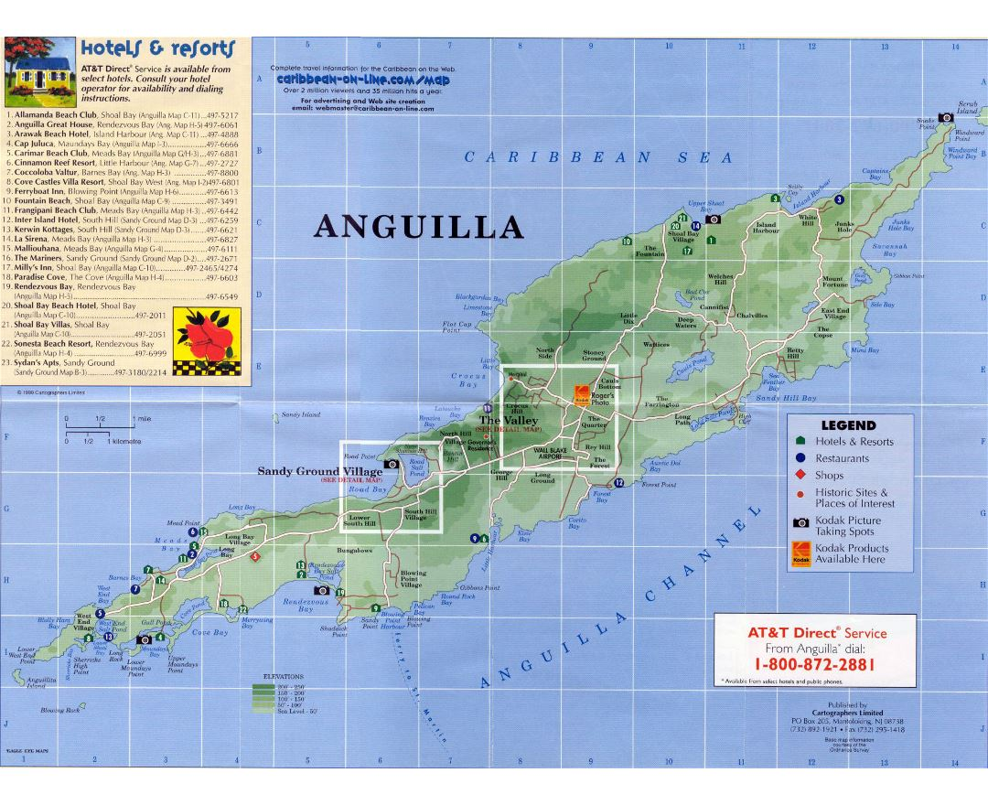 Large detailed elevation and tourist map of Anguilla with roads, hotels and other marks