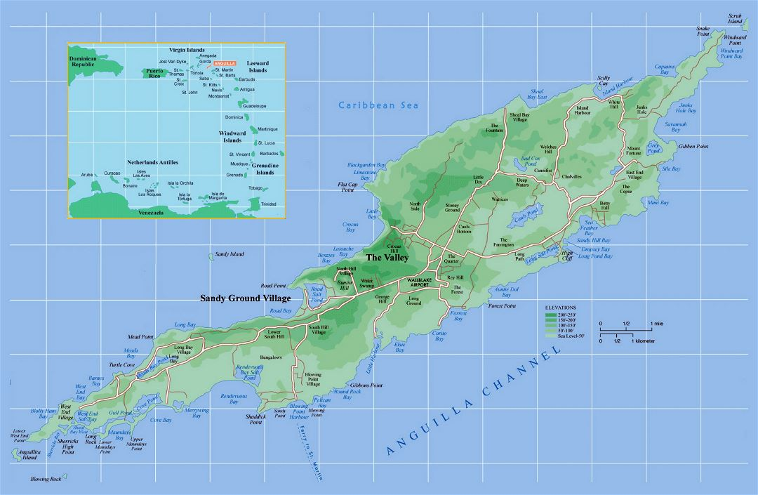 Large detailed political and elevation map of Anguilla with other marks
