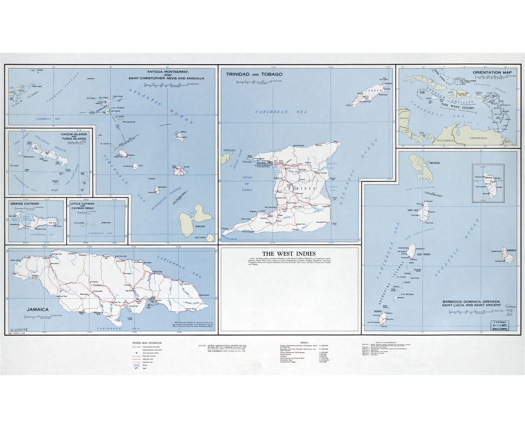 Large detailed political map of the West Indies with roads, railroads, cities, villages and other marks - 1958