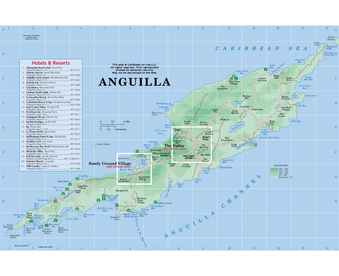 Large detailed road map and physical map of Anguilla with hotels