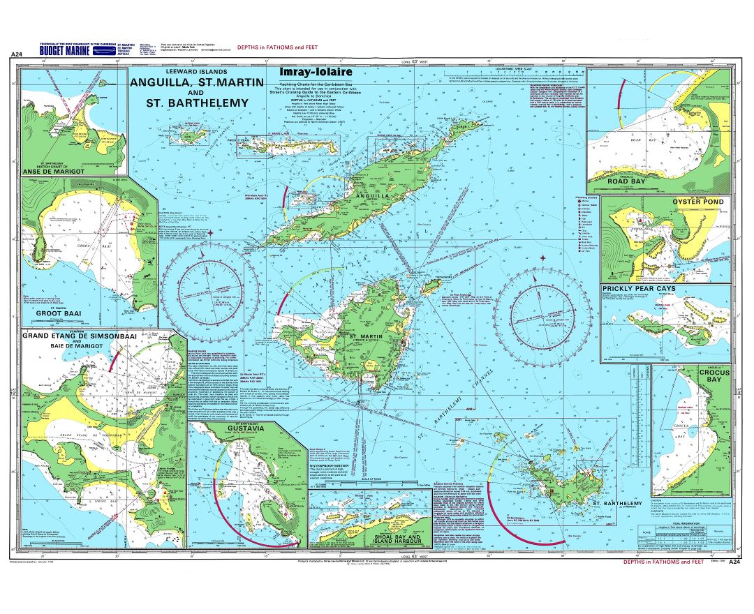 Large detailed topographical and nautical map of Anguilla, St. Martin and St. Barthelemy
