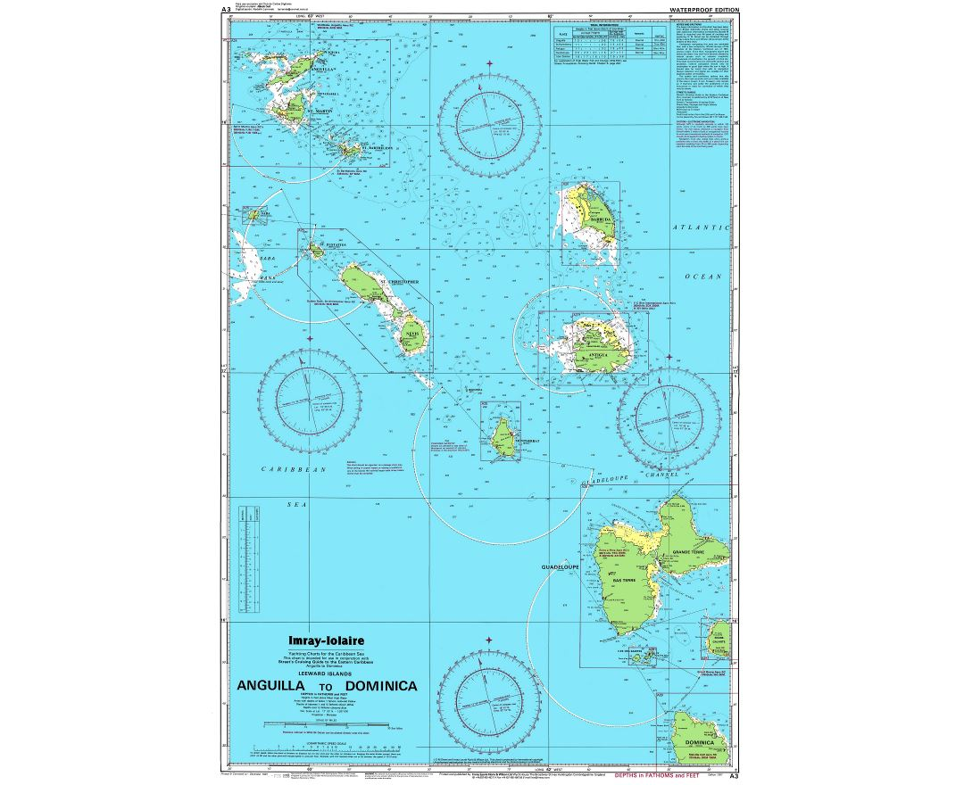 Large detailed topographical and nautical map of Anguilla to Dominica