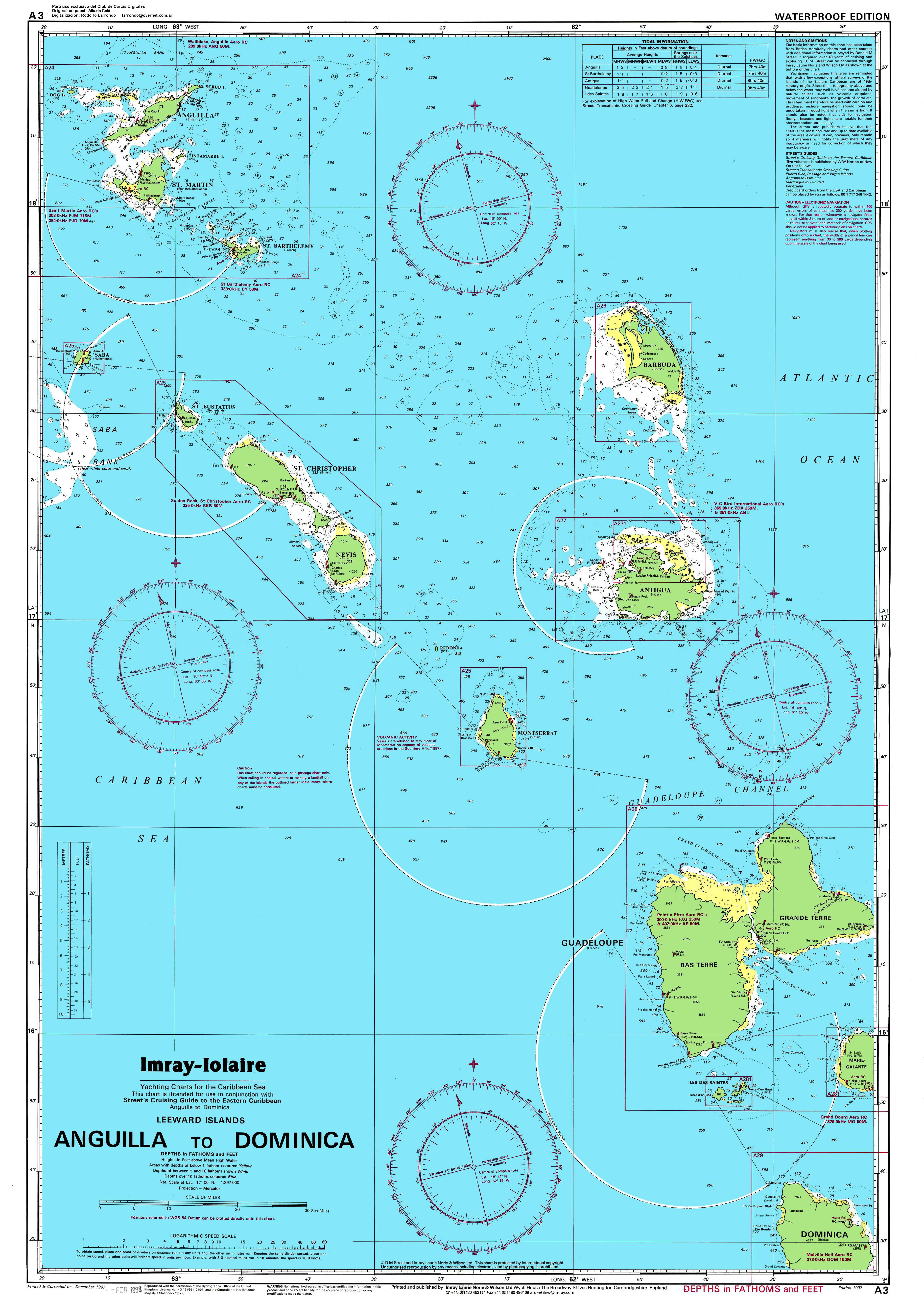 Large detailed topographical and nautical map of Anguilla to
