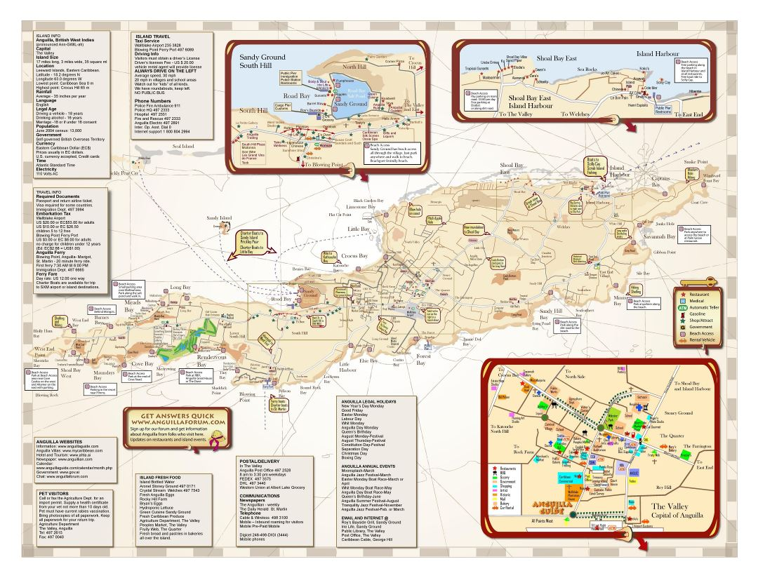 Large detailed tourist map of Anguilla with other marks