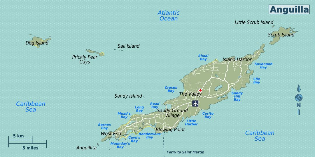Large road map of Anguilla with other marks