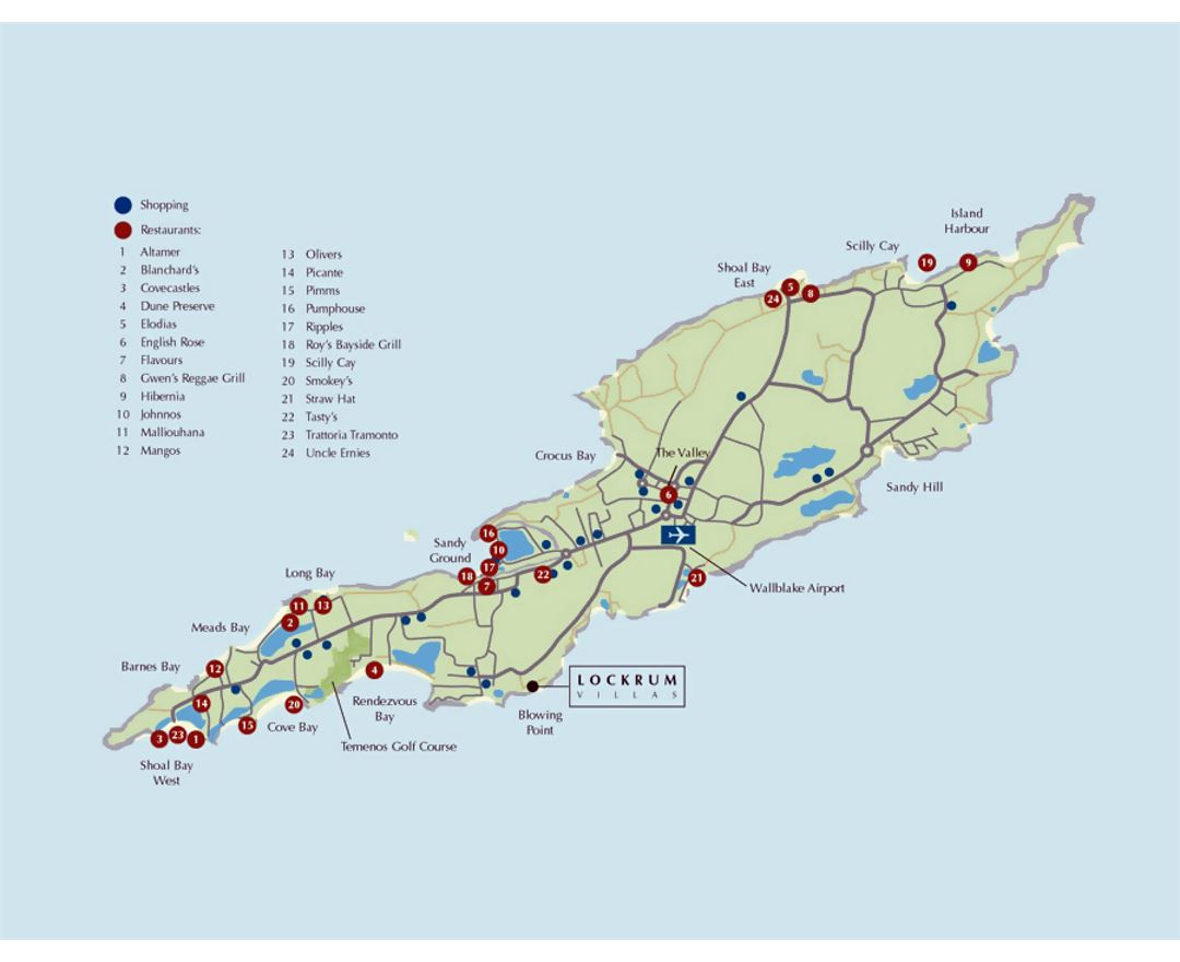 Tourist map of Anguilla with roads