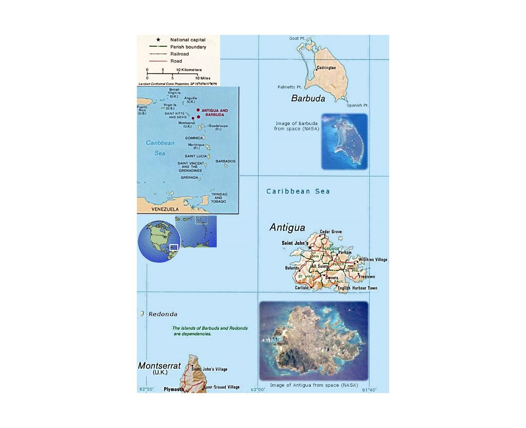 Detailed political map of Antigua and Barbuda with other marks