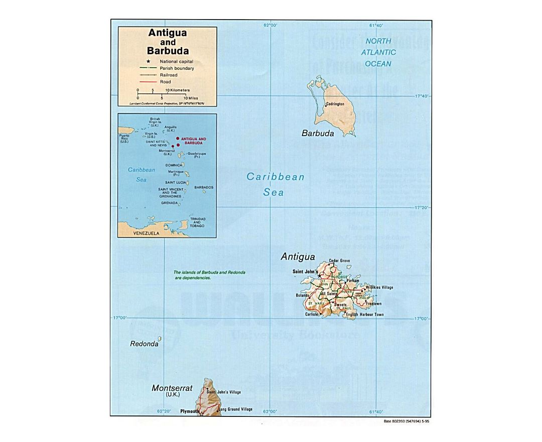 Detailed political map of Antigua and Barbuda with relief, roads, railroads and cities - 1995