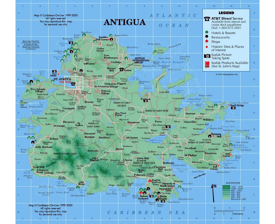 Detailed tourist and elevation map of Antigua with other marks