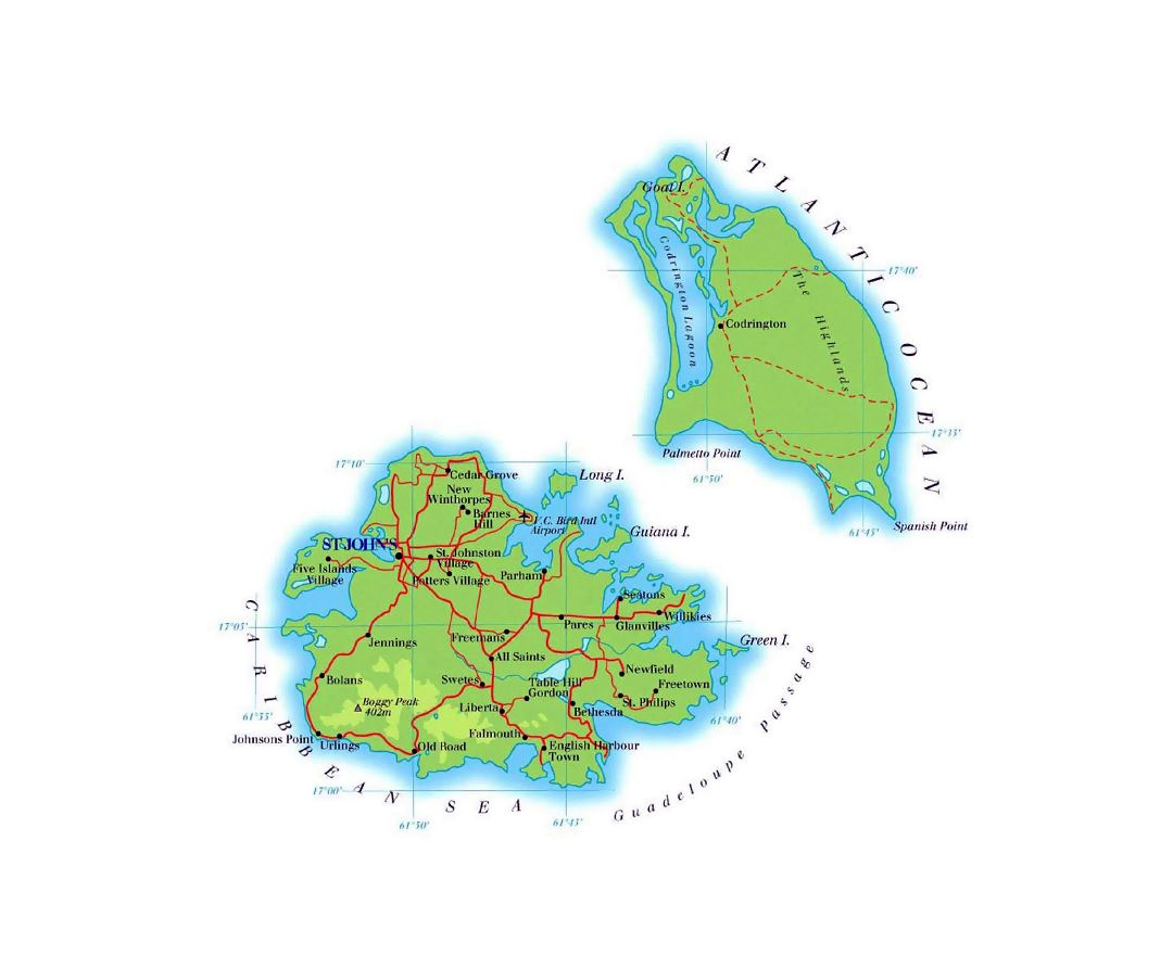 Large elevation map of Antigua and Barbuda with roads and cities