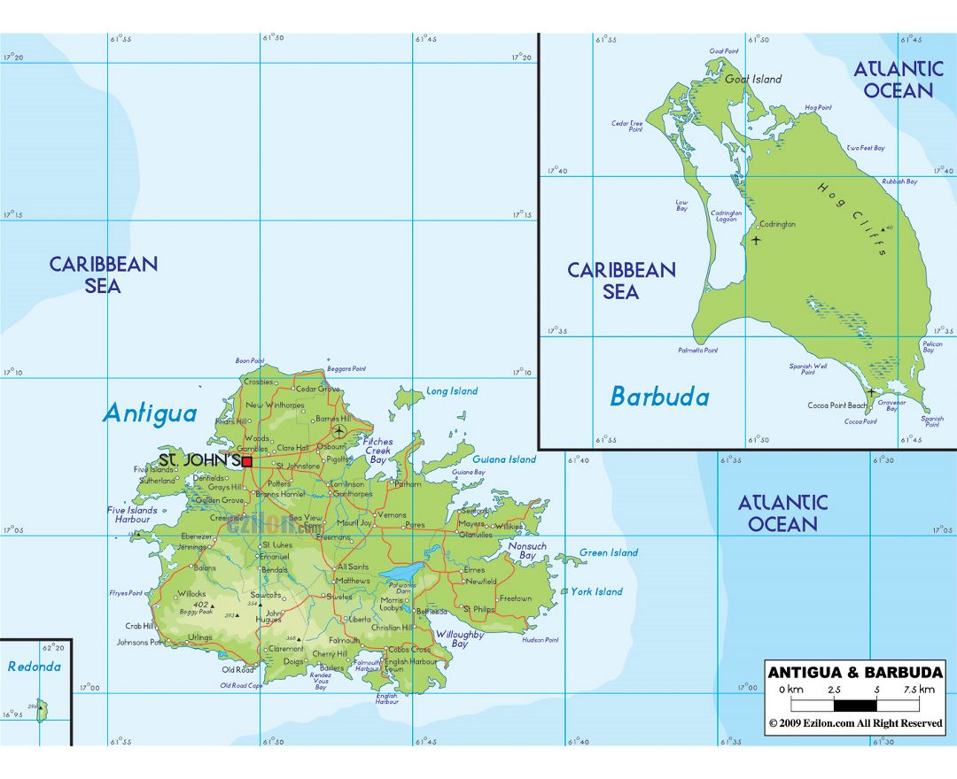 Large physical map of Antigua and Barbuda with roads, cities and airports