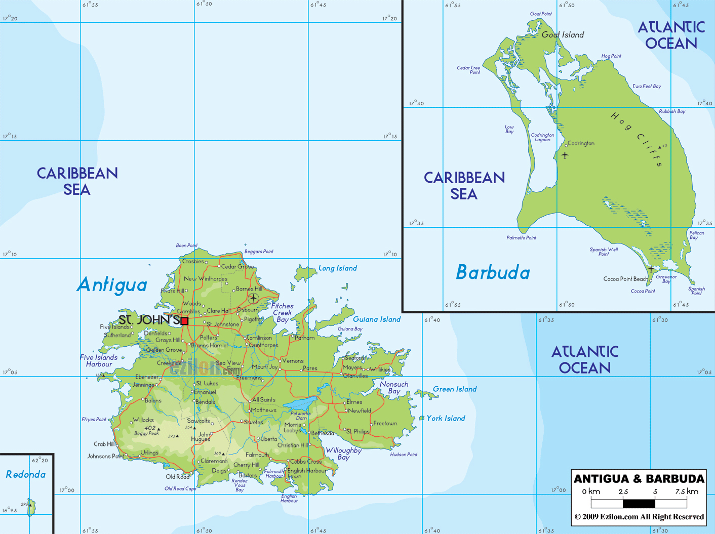 Large physical map of Antigua and Barbuda with roads cities and airports A