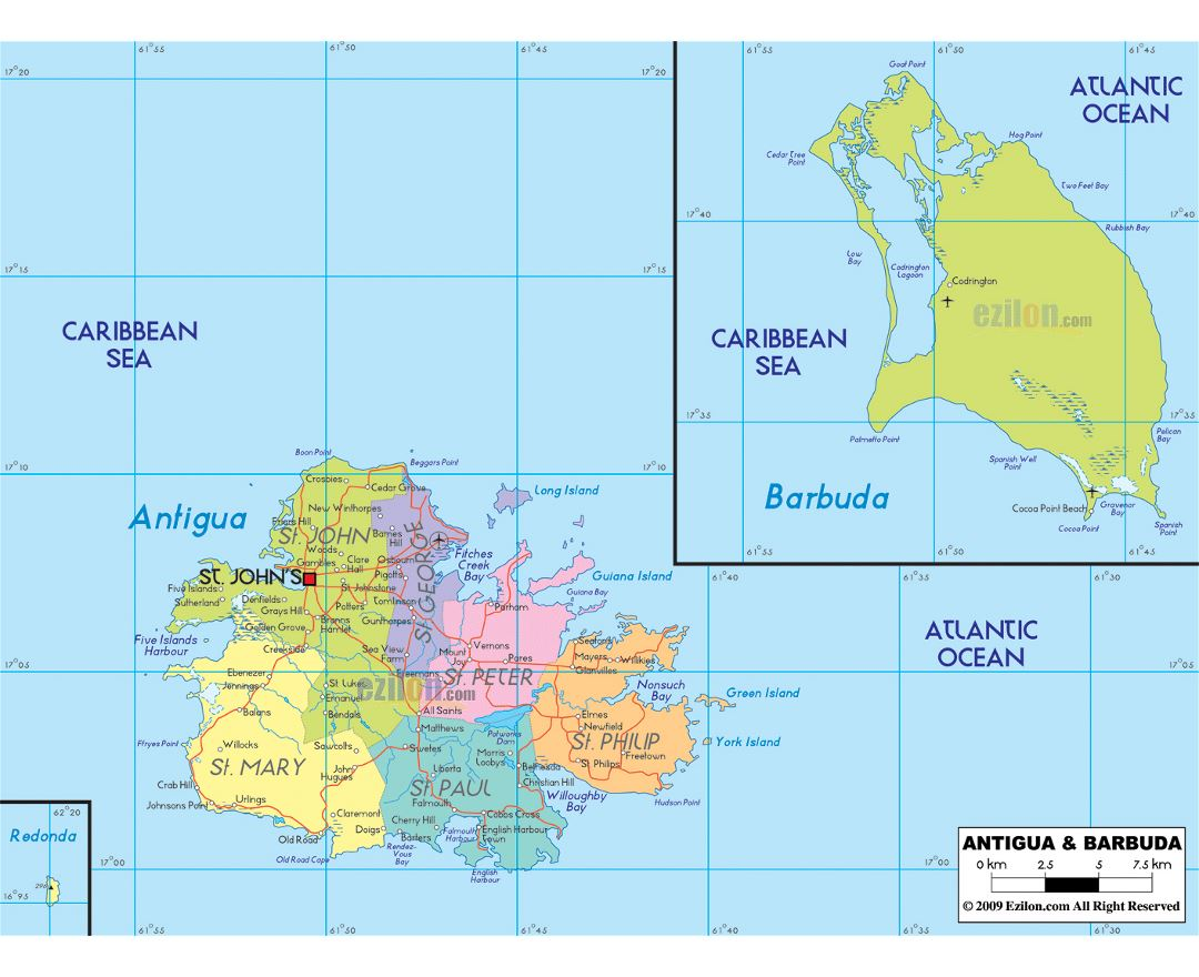 Large political and administrative map of Antigua and Barbuda with roads, cities and airports