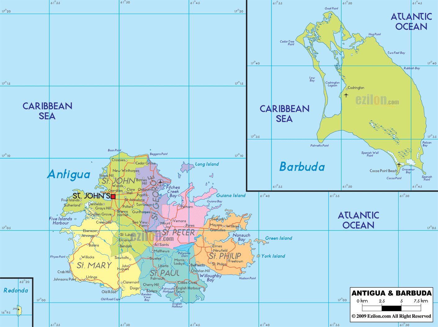 Large political and administrative map of Antigua and Barbuda with